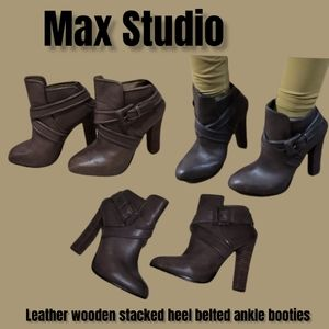 Max Studio Grey Toupe leather boots edgy hipster ankle booties heeled boots 8.5